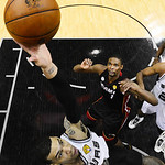 San Antonio Spurs' Danny Green attempts a shot against the Miami Heat during the second half at Game 5 of the NBA Finals basketball series, Sunday, June 16, 2013, in San Antonio. The Spurs w …