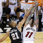 San Antonio Spurs power forward Tim Duncan (21) shoots against Miami Heat power forward Chris Andersen (11) during the second half of Game 6 of the NBA Finals basketball game, Tuesday, June  …