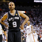 San Antonio Spurs point guard Tony Parker (9) reacts during overtime of Game 6 of the NBA Finals basketball game, against the Miami Heat Wednesday, June 19, 2013, in Miami. The Miami Heat wo …