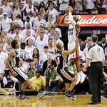 Miami Heat shooting guard Ray Allen (34) shoots a three-point basket in the end of regulation  during the second half of Game 6 of the NBA Finals basketball game against the San Antonio Spur …