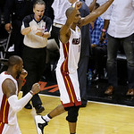 Miami Heat center Chris Bosh (1) and Miami Heat small forward LeBron James, left, react during overtime of Game 6 of the NBA Finals basketball game against the San Antonio Spurs, Wednesday,  …