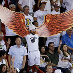 Fans cheers during the second half of Game 6 of the NBA Finals basketball game between the Miami Heat and the San Antonio Spurs, Tuesday, June 18, 2013 in Miami. (AP Photo/Wilfredo Lee)