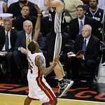 San Antonio Spurs shooting guard Manu Ginobili (20) of Argentina shoots against Miami Heat point guard Mario Chalmers (15) during the second half of Game 6 of the NBA Finals basketball game, …
