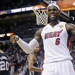 Miami Heat small forward LeBron James (6) reacts after being fouled during the second half in Game 7 of the NBA basketball championship against the San Antonio Spurs, Thursday, June 20, 2013 …