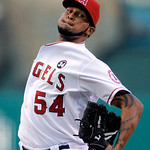 Los Angeles Angels' Ervin Santana throws during the 11th inning of Game 3 of the American League Championship baseball series against the New York Yankees Monday, Oct. 19, 2009, in Anaheim,  …