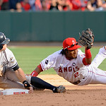 Los Angeles Angels shortstop Erick Aybar catches New York Yankees' Brett Gardner stealing second during the eighth inning of Game 3 of the American League Championship baseball series Monday …
