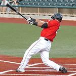 Crushers #25 Daniel Bowman hits a home run. (CT photo by Linda Murphy.)