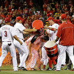 Cincinnati Reds starting pitcher Homer Bailey, center, is doused by his teammates after Bailey threw a no-hitter against the San Francisco Giants in a baseball game, Tuesday, July 2, 2013, i …
