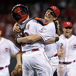 Cincinnati Reds starting pitcher Homer Bailey, right, hugs catcher Ryan Hanigan, left, after Bailey threw a no-hitter against the San Francisco Giants in a baseball game, Tuesday, July 2, 20 …
