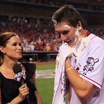 Cincinnati Reds starting pitcher Homer Bailey is interviewed after throwing a no-hitter against the San Francisco Giants in a baseball game, Tuesday, July 2, 2013, in Cincinnati. (AP Photo/A …