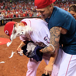 Cincinnati Reds starting pitcher Homer Bailey, left, gets a face full of shaving cream from Mat Latos after Bailey threw a no-hitter against the San Francisco Giants in a baseball game, Tues …