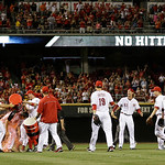 Cincinnati Reds starting pitcher Homer Bailey is doused by a sports drink after throwing a no-hitter against the San Francisco Giants in a baseball game, Tuesday, July 2, 2013, in Cincinnati …