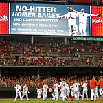 The Cincinnati Reds celebrate on field after starting pitcher Homer Bailey, second from left, threw a no-hitter against the San Francisco Giants in a baseball game, Tuesday, July 2, 2013, in …