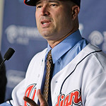 Cleveland Indians manager Manny Acta speaks to the media at a news-conference Monday, Oct. 26, 2009, in Cleveland. Acta, fired as the Washington Nationals manager in July after 2 1/2 seasons …