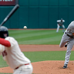 Chicago White Sox starting pitcher Jake Peavy pitches to Cleveland Indians' Michael Brantley in the first inning of a baseball game Sunday, April 14, 2013, in Cleveland. (AP Photo/Mark Dunca …