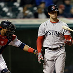 Boston Red Sox's Daniel Nava flips his bat after striking out in the seventh inning of a baseball game against the Cleveland Indians Tuesday, April 16, 2013, in Cleveland. (AP Photo/Mark Dun …