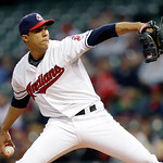 Cleveland Indians starting pitcher Ubaldo Jimenez delivers against the Boston Red Sox in the first inning of a baseball game Tuesday, April 16, 2013, in Cleveland. (AP Photo/Mark Duncan)
