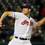 Cleveland Indians relief pitcher Nick Hagadone delivers against the Boston Red Sox in the fifth inning of a baseball game Tuesday, April 16, 2013, in Cleveland. (AP Photo/Mark Duncan)