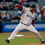 Boston Red Sox starting pitcher Felix Doubront delivers against the Cleveland Indians in the first inning of a baseball game Tuesday, April 16, 2013, in Cleveland. (AP Photo/Mark Duncan)