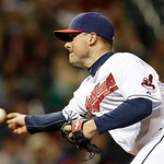 Cleveland Indians relief pitcher Joe Smith delivers against the Boston Red Sox in the eighth inning of a baseball game Wednesday, April 17, 2013, in Cleveland. (AP Photo/Mark Duncan)