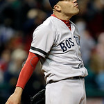 Boston Red Sox starting pitcher Alfredo Aceves reacts after Cleveland Indians' Asdrubal Cabrera flies out with the bases loaded to end the fifth inning of a baseball game Wednesday, April 17 …