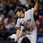 Boston Red Sox relief pitcher Koji Uehara follows through on a pitch to strike out Cleveland Indians' Mark Reynolds to end the eighth inning of a baseball game Wednesday, April 17, 2013, in  …