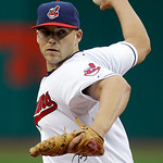 Cleveland Indians starting pitcher Justin Masterson delivers against the Boston Red Sox in the first inning of a baseball game Wednesday, April 17, 2013, in Cleveland. (AP Photo/Mark Duncan)