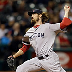 Boston Red Sox relief pitcher Andrew Miller delivers against the Cleveland Indians in the eighth inning of a baseball game Thursday, April 18, 2013, in Cleveland. The Red Sox won 6-3. (AP Ph …