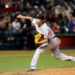 Boston Red Sox relief pitcher Koji Uehara delivers against the Cleveland Indians in the eighth inning of a baseball game Thursday, April 18, 2013, in Cleveland. The Red Sox won 6-3. (AP Phot …
