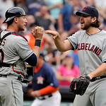 Cleveland Indians closer Vinnie Pestano, right, and catcher Yan Gomes celebrate their 5-4 win over the Houston Astros in a baseball game on Sunday, April 21, 2013, in Houston. (AP Photo/Pat  …
