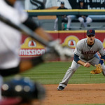 Cleveland Indians third baseman Lonnie Chisenhall fields his position during the first inning of a baseball game against the Chicago White Sox Monday, April 22, 2013, in Chicago. (AP Photo/C …