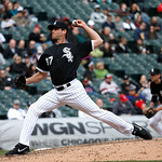 Chicago White Sox relief pitcher Matt Thornton delivers during a baseball game against the Cleveland Indians Wednesday, April 24, 2013, in Chicago. (AP Photo/Charles Rex Arbogast)