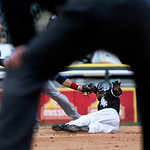 After a pick off attempt by Cleveland Indians starting pitcher Zach McAllister of Chicago White Sox's Alexei Ramirez at first, Ramirez steals second on a throw from designated hitter Mark Re …