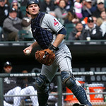 Cleveland Indians catcher Lou Marson fields his position during a baseball game against the Chicago White Sox Wednesday, April 24, 2013, in Chicago. (AP Photo/Charles Rex Arbogast)
