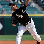 Chicago White Sox starting pitcher Jose Quintana delivers during the first inning of a baseball game against the Cleveland Indians, Wednesday, April 24, 2013, in Chicago. (AP Photo/Charles R …