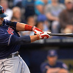 Cleveland Indians' Mike Aviles connects on this for a three-run home run in the third inning of their second baseball game against the Kansas City Royals, Sunday, April 28, 2013, in Kansas C …