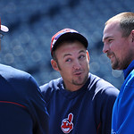 Cleveland Indians manager Terry Francona, left, talks with Indians' Ryan Raburn, center, and Kansas City Royals' Billy Butler before the first of their two baseball games on Sunday, April 28 …