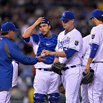 Kansas City Royals starting pitcher Will Smith (53) is taken out of the game by manager Ned Yost in thefifth inning of their second baseball game of a doubleheader against the Cleveland Indi …