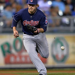Cleveland Indians third baseman Mark Reynolds (12) can't make the grab on this grounder off the bat of Jeff Francoeur in the fourth inning of their second baseball game of a doubleheader, Su …