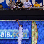 Kansas City Royals right fielder Jeff Francoeur (21) cannot catch a deep fly ball for an RBI triple off the bat of Cleveland Indians' Asdrubal Cabrera in the eighth inning of their second ba …