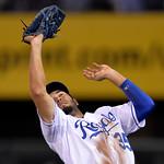 Kansas City Royals first baseman Eric Hosmer (35) drops a foul ball by Cleveland Indians' Nick Swisher for an error in the seventh inning of their second baseball game of a doubleheader, Sun …