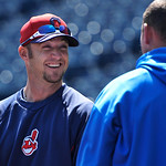 Cleveland Indians' Ryan Raburn talks with Kansas City Royals' Billy Butler during batting practice before the first of  their two baseball games, Sunday, April 28, 2013, in Kansas City, Mo.  …