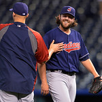 Cleveland Indians relief pitcher Chris Perez is congratulated after their 10-3 win over the Kansas City Royals in the second baseball game of a doubleheader, Sunday, April 28, 2013, in Kansa …