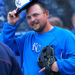 Kansas City Royals' Billy Butler chats with other players before a baseball game between the Kansas City Royals and Cleveland Indians, Monday, April 29, 2013, in Kansas City, Mo. (AP Photo/R …