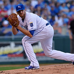 Kansas City Royals' Wade Davis look to a runner on first during the first inning of a baseball game between the Kansas City Royals and Cleveland Indians, Monday, April 29, 2013, in Kansas Ci …