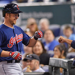 Cleveland Indians' Ryan Raburn celebrates with his teammates after hitting a home run during the eighth inning of a baseball game Monday, April 29, 2013, in Kansas City, Mo. (AP Photo/Reed H …
