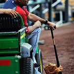 Cleveland Indians bench coach Sandy Alomar Jr., watches as his team comes out to start batting practice before a baseball game against the Kansas City Royals, Monday, April 29, 2013, in Kans …