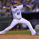 Kansas City Royals relief pitcher Kelvin Herrera throws during the eighth inning of a baseball game, Monday, April 29, 2013, in Kansas City, Mo. (AP Photo/Reed Hoffmann)