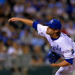 Kansas City Royals relief pitcher Aaron Crow throws during the seventh inning of a baseball game against the Cleveland Indians, Monday, April 29, 2013, in Kansas City, Mo. (AP Photo/Reed Hof …