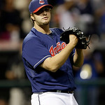 Cleveland Indians relief pitcher Matt Albers reacts as he watches the final out in the ninth inning of a baseball game against the Philadelphia Phillies, Tuesday, April 30, 2013, in Clevelan …